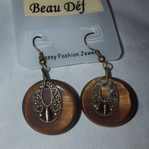 New Brown glass marble Stone Fish Hook earrings